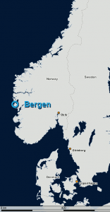 Location of Bergen in Norway